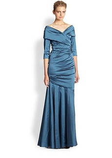 Teri Jon by Rickie Freeman Portrait-Collar Gown