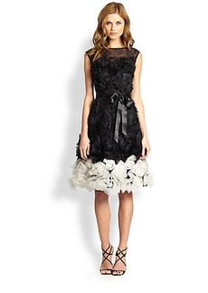 Teri Jon Rosette-Skirted Dress