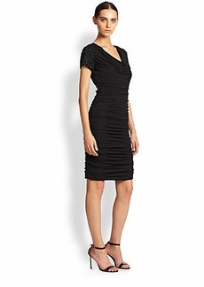 Teri Jon Ruched Beaded-Sleeve Dress