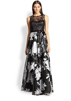 Teri Jon Sequin-Lace Top & Layered Skirt Gown