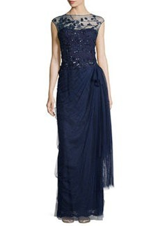 Teri Jon Sequined Embellished Tulle Gown, Navy