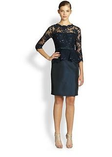 Teri Jon Sequined Lace & Taffeta Dress