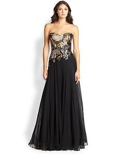 Teri Jon Sequined Strapless Chiffon Gown