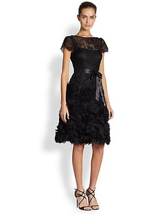 Teri Jon Silk Soutache and Lace Dress