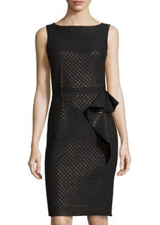 Teri Jon Sleeveless Dot-Print Dress w/Side Ruffle, Black