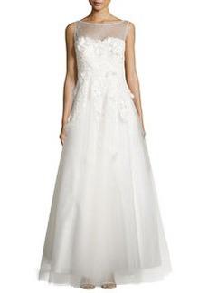 Teri Jon Sleeveless Floral-Applique Gown, White
