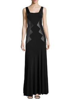 Teri Jon Sleeveless Gown W/ Faux Leather Sides, Black