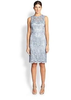 Teri Jon Sleeveless Lace Sheath Dress