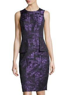 Teri Jon Sleeveless Peplum Dress, Purple