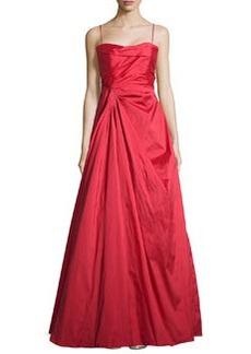 Teri Jon Sweetheart-Neck Strapless Gown, Red