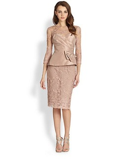 Teri Jon Taffeta Overlay Lace Dress
