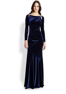 Teri Jon Velvet Slit-Shoulder Gown