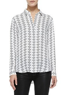 Aquilina B Silk Button-Front Blouse, Black-White   Aquilina B Silk Button-Front Blouse, Black-White