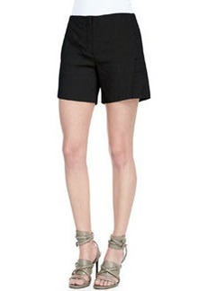 Crunch Mid-Thigh Linen-Blend Shorts   Crunch Mid-Thigh Linen-Blend Shorts