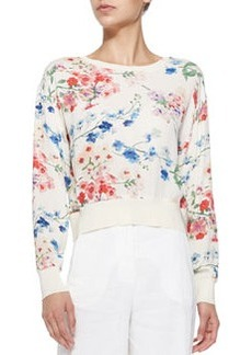 Delpy Cropped Floral-Print Sweater   Delpy Cropped Floral-Print Sweater