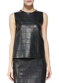 Emlay Plaid Leather/Cashmere Top   Emlay Plaid Leather/Cashmere Top
