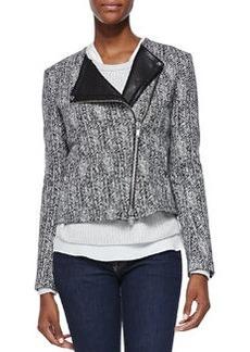 Joean Herringbone Leather-Trim Jacket   Joean Herringbone Leather-Trim Jacket