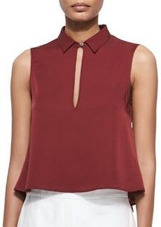 Kenzly Slit-Front Sleeveless Blouse   Kenzly Slit-Front Sleeveless Blouse
