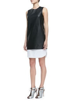 Lambskin & Poplin Sleeveless Dress   Lambskin & Poplin Sleeveless Dress