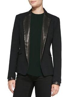 Leandria Jacket w/ Leather Lapels & Cuffs   Leandria Jacket w/ Leather Lapels & Cuffs