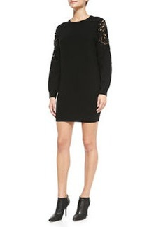 Lindessa Evian Lace-Inset Sleeve Sweater Dress   Lindessa Evian Lace-Inset Sleeve Sweater Dress