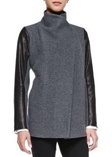 Naomo Leather-Sleeve Felt Coat   Naomo Leather-Sleeve Felt Coat