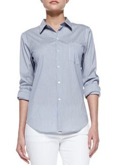 Perfect Poplin Button-Down Shirt, Blue-White   Perfect Poplin Button-Down Shirt, Blue-White