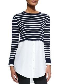 Rymalia Striped Cropped Sweater w/Underlay   Rymalia Striped Cropped Sweater w/Underlay