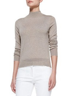 Sallie Banded-Trim Lightweight Mock-Neck Sweater   Sallie Banded-Trim Lightweight Mock-Neck Sweater