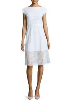 Theory Afala Belted Netted A-Line Dress