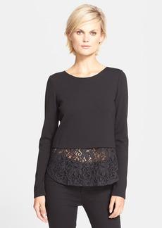 Theory 'Bente' Lace Panel Layered Sweater