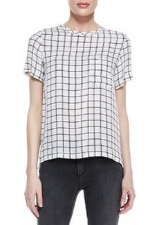 Theory Broxlin Scribble Grid Silk Top