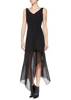 Theory Dahama Register Sleeveless Dress W/ Sheer Skirt