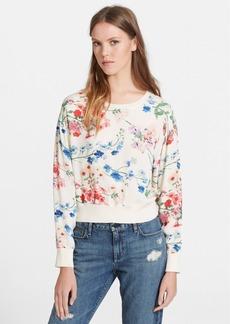 Theory 'Delpy' Floral Print Silk Sweatshirt