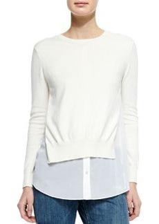 Theory Deverlyn Sweater w/Poplin Underlay