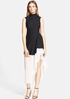 Theory 'Dexas' Silk & Wool Colorblock Asymmetrical Sheath Dress