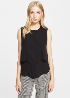 Theory 'Gentaire' Sleeveless Tiered Silk Georgette Shirt