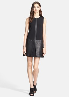Theory 'Haddie C' Leather Detail Dress