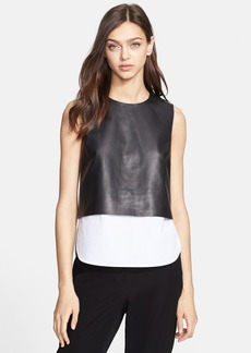 Theory 'Hodal L' Leather Overlay Top