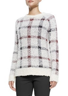 Theory Innis Knit Plaid Pullover Sweater