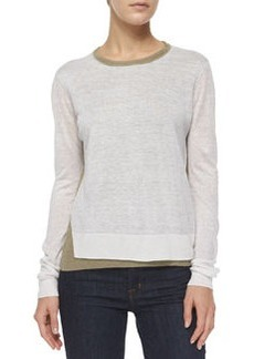 Theory Mayolee Two-Tone Sag Harbor Sweater, Light Clay/White