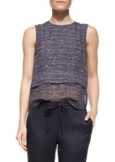 Theory Multi Tweed-Print Hodal C Silk Top