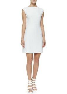 Theory Mystsra Cap-Sleeve Crepe Dress, Off White