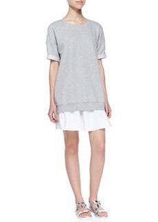 Theory Nalcia Short-Sleeve Sweatshirt Dress W/ Rolled Cuffs