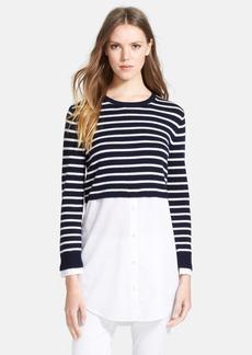 Theory 'Rymalia' Stripe Crop Cotton & Cashmere Sweater with Poplin Underlay