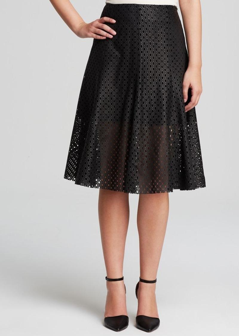 theory theory skirt bhima lasercut leather skirts