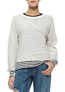 Theory Tamrist Striped Puckered Top
