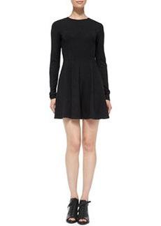 Theory Tillora Knit Long-Sleeve Flare-Skirt Dress