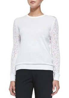 Theory Vessra Exhibit Top W/ Lace Sleeves