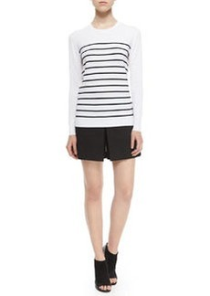 Theory Weson Stripe-Front Long-Sleeve Top